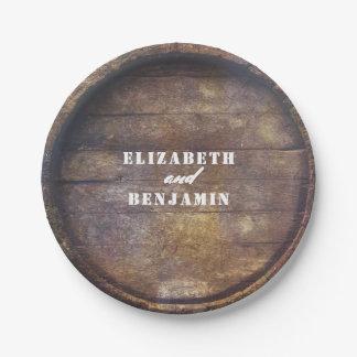 Plato De Papel Boda de madera del país rústico de la parte