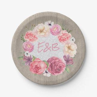 Plato De Papel Boda de madera rústico de la guirnalda floral