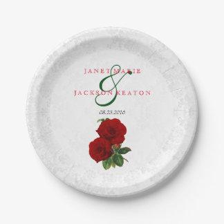Plato De Papel Boda floral color de rosa de color rojo oscuro