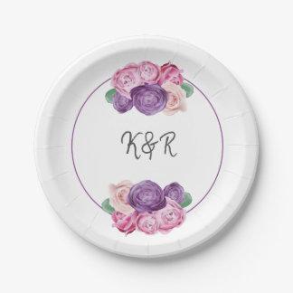 Plato De Papel Boda floral de los rosas ultravioletas y rosados
