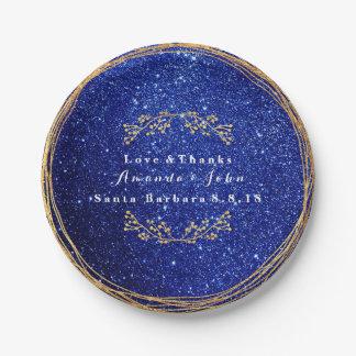 Plato De Papel Boda floral del brillo del oro marino azul del