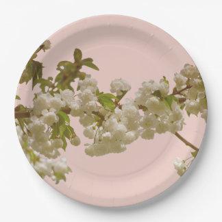 Plato De Papel Boda romántico de la flor de cerezo del verano de