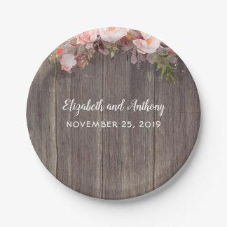 Plato De Papel Boda rústico de las flores de madera y rosadas