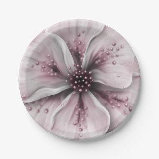 Plato De Papel Borgoña rosada floral