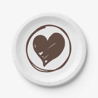 Plato De Papel Brown y corazón blanco que casan amor nupcial de