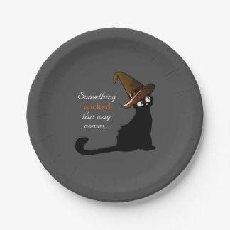 Plato De Papel Bruja del gato de Halloween - placas