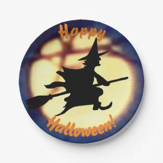 Plato De Papel Bruja sobre las placas de papel de Halloween de la