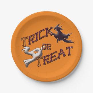 Plato De Papel Bruja y placas de Halloween del truco o de la