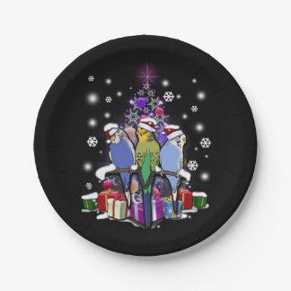 Plato De Papel Budgerigars con el navidad regalo y copos de nieve