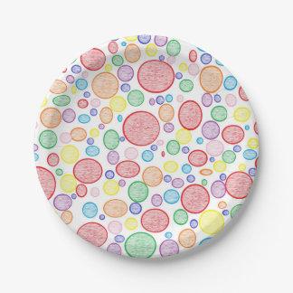 Plato De Papel Burbujas del arco iris aligeradas