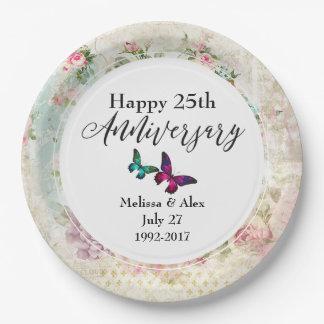 Plato De Papel Butterflie y aniversario de los rosas del vintage
