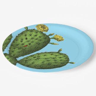 Plato De Papel Cactus con las flores amarillas