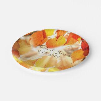 Plato De Papel Caída de las hojas de otoño que casa la placa de