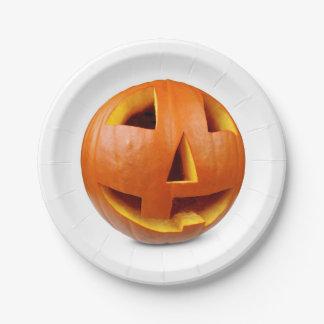 Plato De Papel Calabaza del feliz Halloween