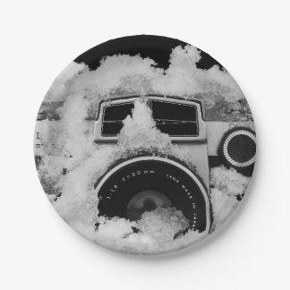 Plato De Papel Cámara blanco y negro nevada del vintage