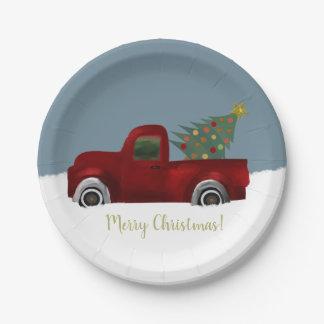 Plato De Papel Camión retro y árbol de navidad del vintage rojo