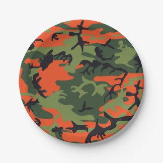 Plato De Papel Camuflaje anaranjado verde del bosque. Camo su