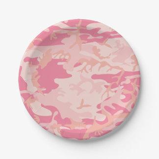 Plato De Papel Camuflaje rosado. Camo su