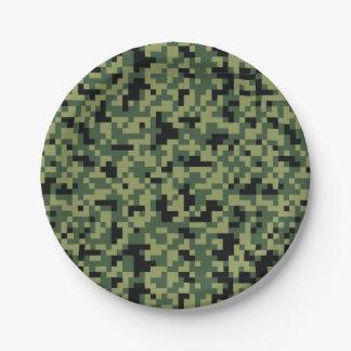 Plato De Papel Camuflaje verde. Camo su
