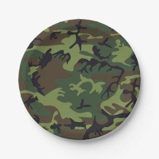 Plato De Papel Camuflaje verde de Brown. Camo su