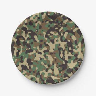 Plato De Papel Camuflaje verde del arbolado de Brown. Camo su