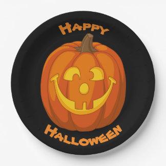 Plato De Papel Cara torpe feliz de la calabaza de Halloween de la
