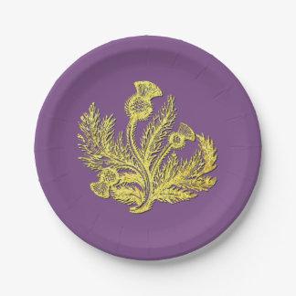 Plato De Papel Cardo escocés del oro su color