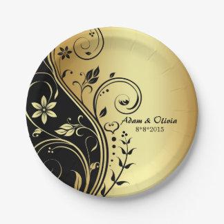Plato De Papel Casar la placa de oro floral del negro de la