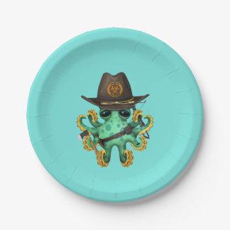 Plato De Papel Cazador verde del zombi del pulpo del bebé