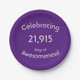 Plato De Papel Celebración de 21.915 días de cumpleaños de
