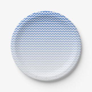 Plato De Papel Chevron azul