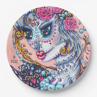 Plato De Papel Chica grande del ojo con los rosas y las placas de