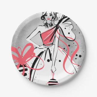 Plato De Papel chica marchosa en el fondo de plata