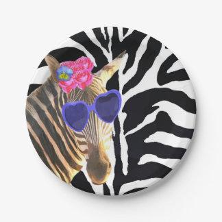 Plato De Papel Chica moderno de la moda animal de la selva de la
