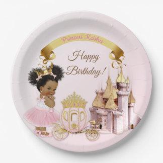 Plato De Papel Chica real de princesa Castle Carriage Pink Gold