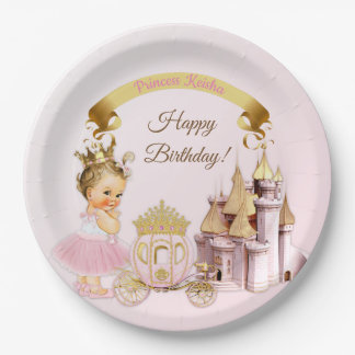 Plato De Papel Chica real de princesa Castle Carriage Pink Gold