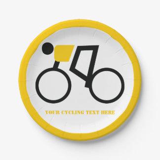 Plato De Papel Ciclista que monta su personalizado del amarillo