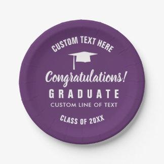 Plato De Papel Clase de la graduación de la púrpura 2018 del