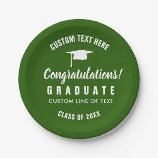 Plato De Papel Clase de la graduación del verde 2018 del