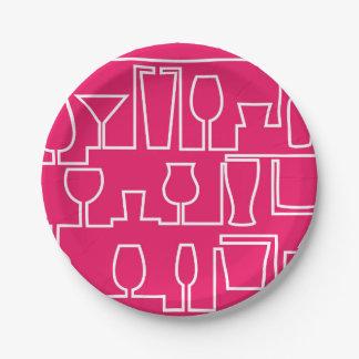 Plato De Papel Cóctel rosado