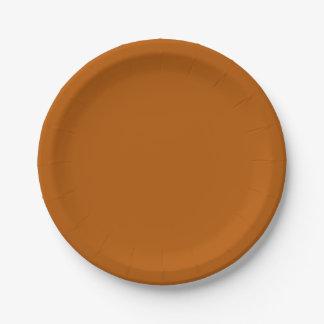 Plato De Papel Color sólido de la especia de la calabaza