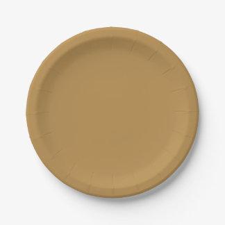 Plato De Papel Color sólido de la miel de Brown