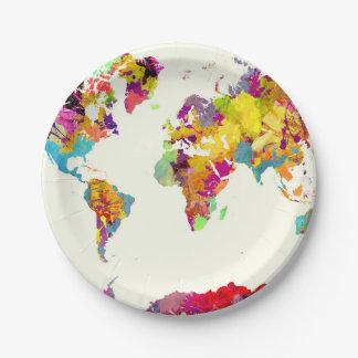 Plato De Papel colores del mapa del mundo