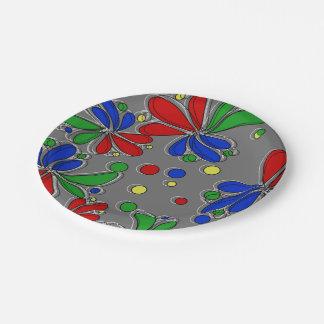 Plato De Papel Colores primarios florales