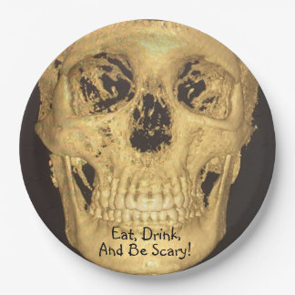 Plato De Papel Coma, beba, y sea cráneo asustadizo