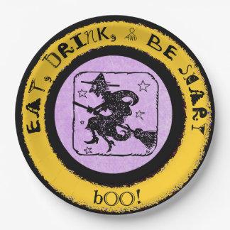 Plato De Papel Coma, bebida y sea asustadizo, placa del fiesta