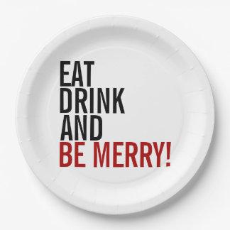 Plato De Papel Coma la bebida y sea placas de papel del feliz día
