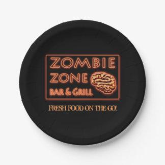 Plato De Papel Comida fresca de la zona del zombi de Halloween en