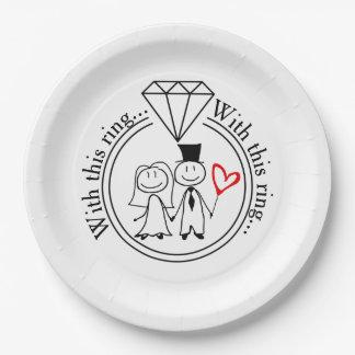 Plato De Papel Con esta figura casual boda del palillo del anillo