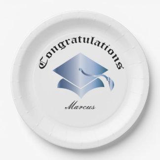Plato De Papel Congrats adaptable en las placas de la graduación